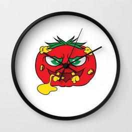 """Toxic tomato"" tee design. Creepy and freaky shirt perfect to mock your friends this holiday!  Wall Clock"