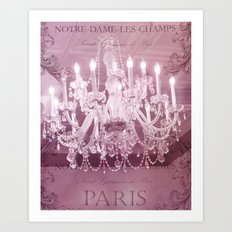 Paris Pink White Sparkling Crystal Chandelier Wall Art and Home Decor Art Print
