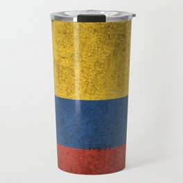 Old and Worn Distressed Vintage Flag of Colombia Travel Mug