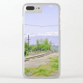Railroad path Clear iPhone Case