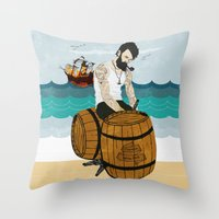 moby Throw Pillows featuring Captain Moby by Napa