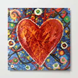 Abstract Painted Heart Metal Print