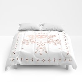 Magical Moth In Rose Gold Comforters