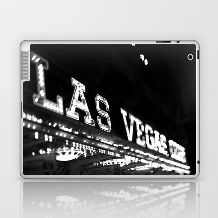 Vintage Las Vegas Sign - Black and White Photography Laptop & iPad Skin