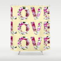 all you need is love Shower Curtains featuring ALL YOU NEED IS LOVE by Artisimo