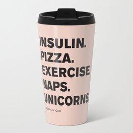 Insulin Pizza Naps (Black on Pink) Travel Mug