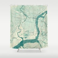 philadelphia Shower Curtains featuring Philadelphia Map Blue Vintage by City Art Posters