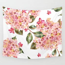 Watercolor Pink Hydrangea Pattern on White Wall Tapestry