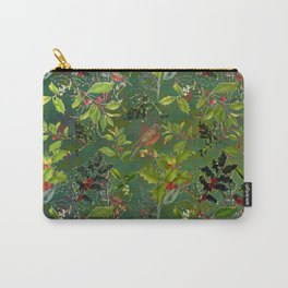 Christmas Pattern with Green Background Carry-All Pouch