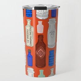 Vintage Bottle Collection Illustrated Repeat Pattern Print Travel Mug