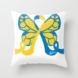 Down Syndrome Awareness Butterfly Throw Pillow