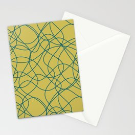 Tropical Dark Teal Scribbled Lines Abstract Hand Drawn Mosaic Pattern Inspired by Sherwin Williams 2020 Trending Color Oceanside SW6496 on Dark Yellow Stationery Cards
