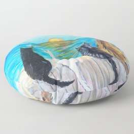 Cat Beach Sunset Floor Pillow