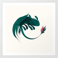 toothless Art Prints featuring toothless by yohan sacre
