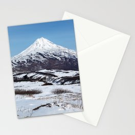 Panoramic winter mountainous landscape: snowy cone of volcano Stationery Cards