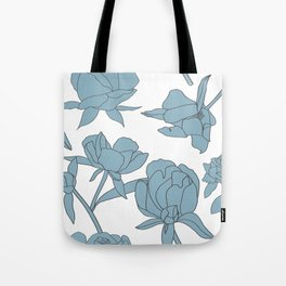 Roses in Blue Tote Bag