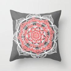 Mandala on Gray Linen Throw Pillow