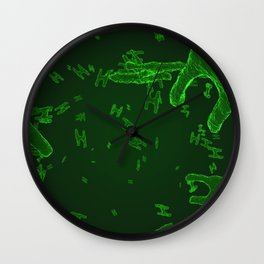 Abstract green virus cells Wall Clock