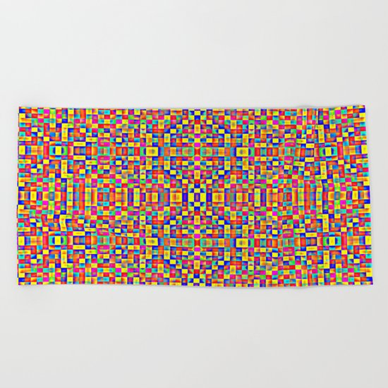 Rainbow Mosaic Pixels Beach Towel
