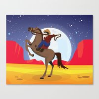 cowboy Canvas Prints featuring Cowboy by Nick's Emporium