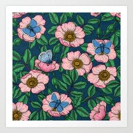 Dog rose and butterflies  Art Print