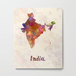 India  in watercolor Metal Print