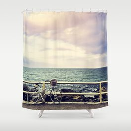 Bicycle on Fence Shower Curtain