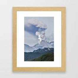 Summer mountain landscape, scenery erupting active volcano on Kamchatka Peninsula Framed Art Print