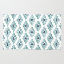 Indigo Aqua Watercolor Diamond Geometric Rug