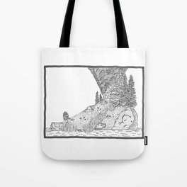 Fire on Foot Island Tote Bag
