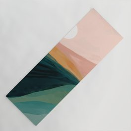 pink, green, gold moon watercolor mountains Yoga Mat