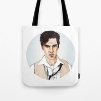 benedict cumberbatch Tote Bags featuring Benedict Cumberbatch by Alisha Henry
