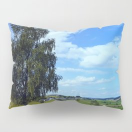 Old tree, country road and a cloudy sky | landscape photography Pillow Sham