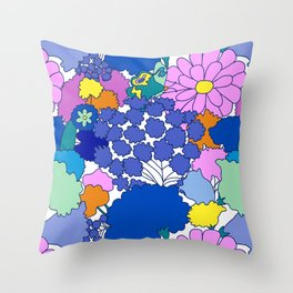 Far-Out 60's Floral in White Throw Pillow