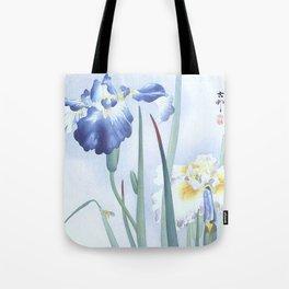 Bee And Blue Iris Flowers - Vintage Japanese Woodblock Print Art By Ohara koson Tote Bag