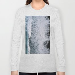 Aerial of a Black Sand Beach with Waves - Oceanscape Long Sleeve T-shirt