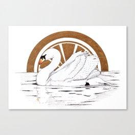 Swan golden sunset Canvas Print