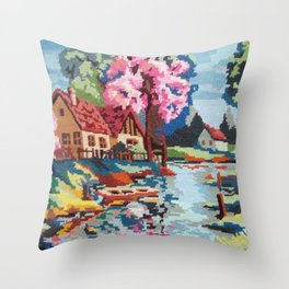 Cross stitch River Throw Pillow
