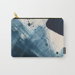 Against the Current [2]: A bold, minimal abstract acrylic piece in blue, white and gold Carry-All Pouch