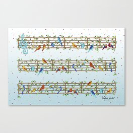 Singing Doodle Birds Canvas Print