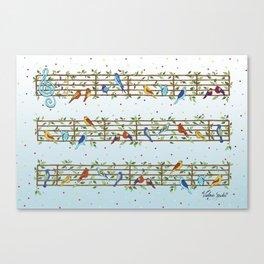 Singing Doodle Birds Canvas Print
