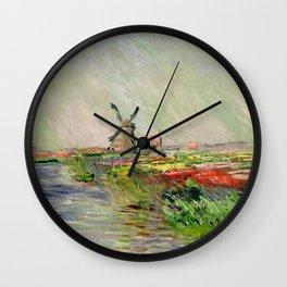 "Claude Monet ""Tulip field in Holland (Champ de tulipes en Hollande)"" Wall Clock"