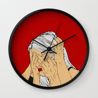 introvert Wall Clocks featuring Introvert 4 by Heidi Banford
