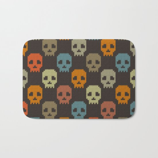 Knitted skull pattern - colorful Bath Mat