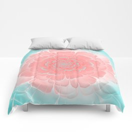 Romantic aqua and pink flower, digital abstracts Comforters