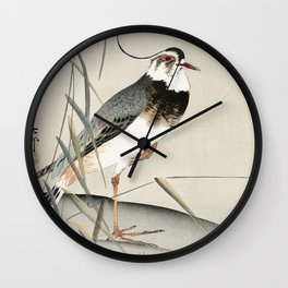 Lapwing in the field  - Vintage Japanese Woodblock Print Art Wall Clock