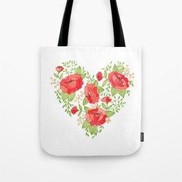 Rose Heart watercolor Tote Bag