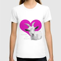 totes T-shirts featuring Totes Ma Goats Pink by BACK to THE ROOTS