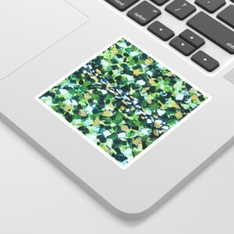 Colorful Green Abstract Painting Sticker