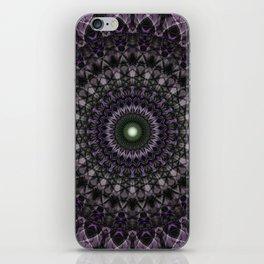 Pretty violet and beige mandala iPhone Skin